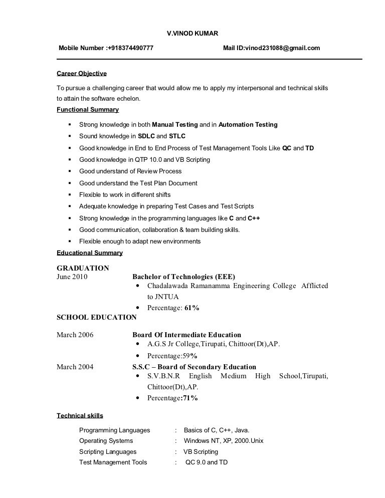 Fresher Resume Examples. Fresher Testing Cv Sample Resume For ...