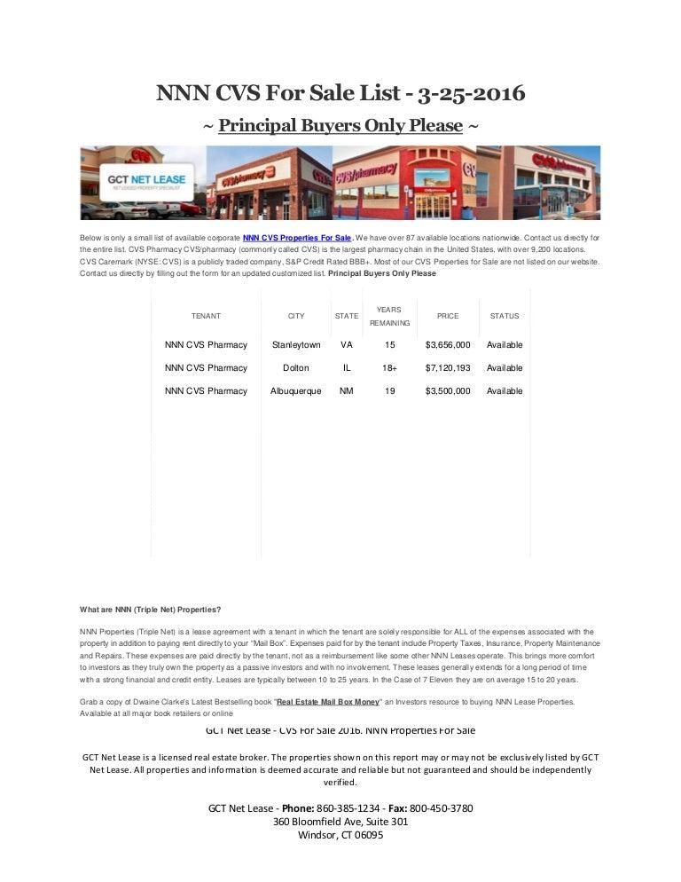 nnn cvs for sale list