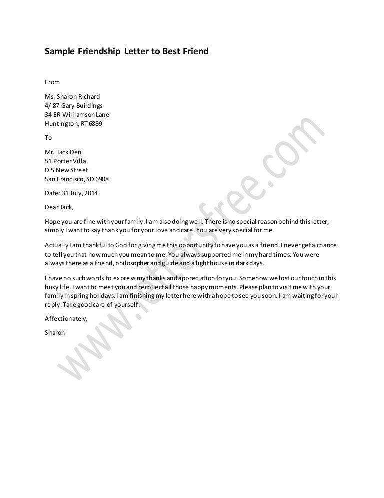 Friendship Letter To Best Friend Sample