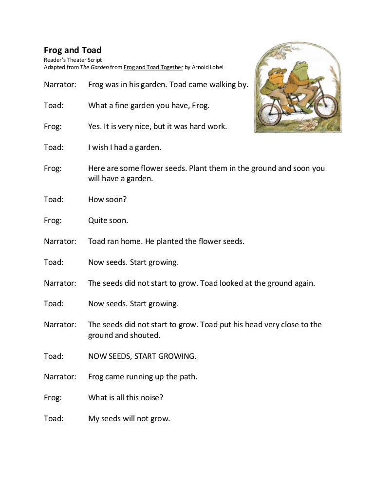 Frog and toad garden readers theater script