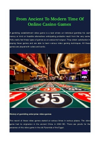 From Ancient To Modern Time Of Online Casino Games