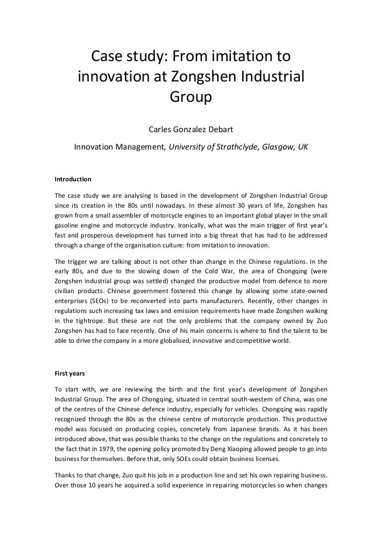from imitation to innovation zongshen industrial group case study