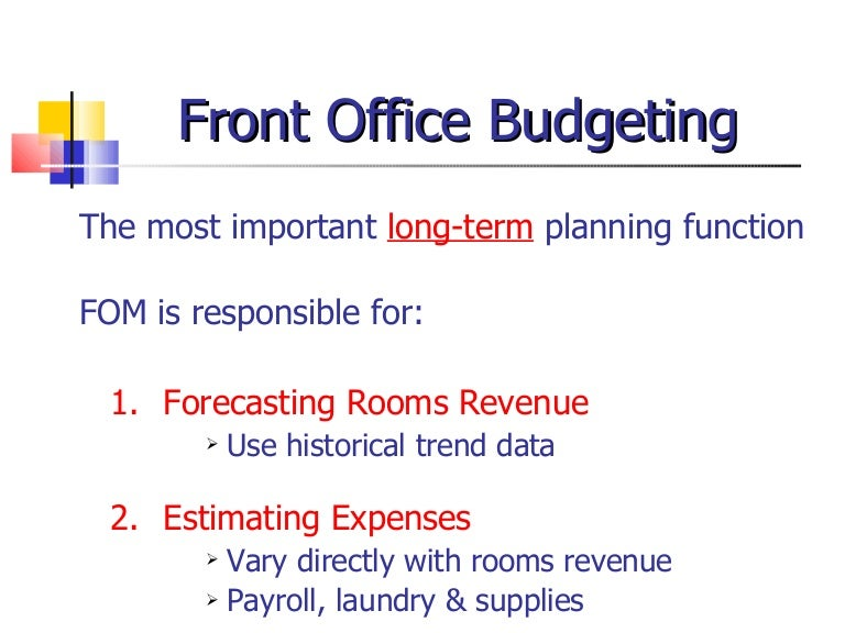 Front Office Management And Budgeting Ppt