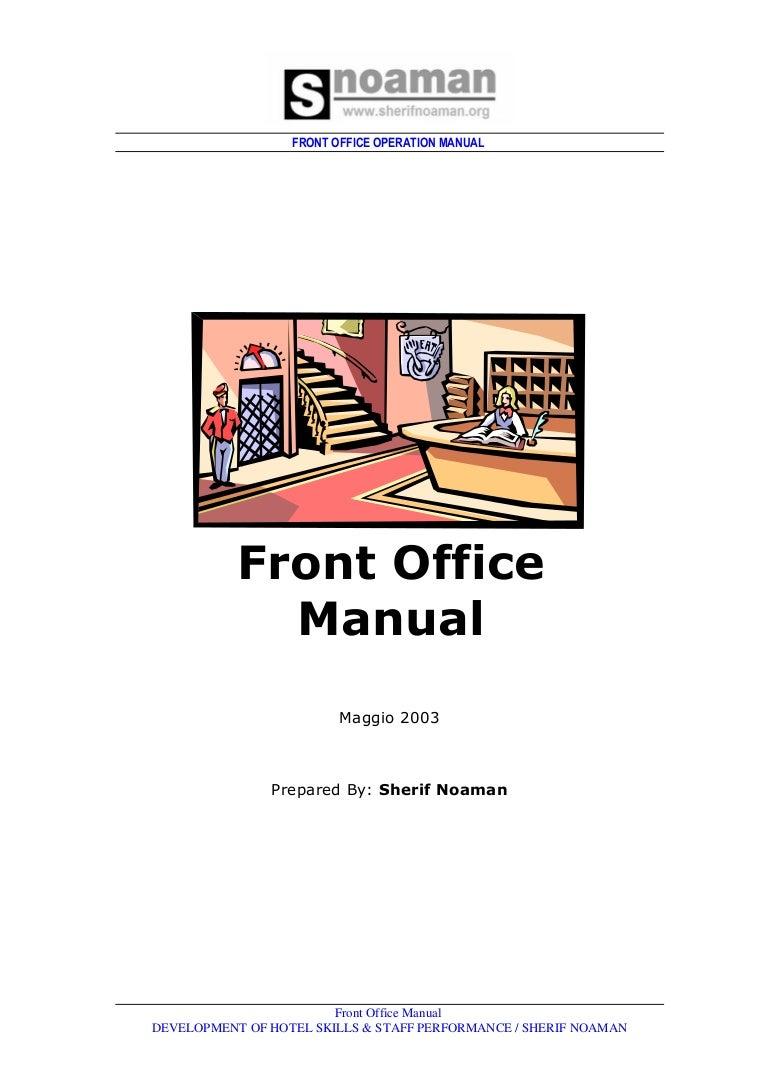 Front office dept. Job.