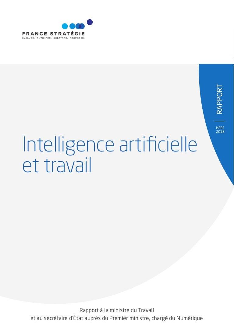 Intelligence artificielle et travail. Rapport à la ministre du Travail.