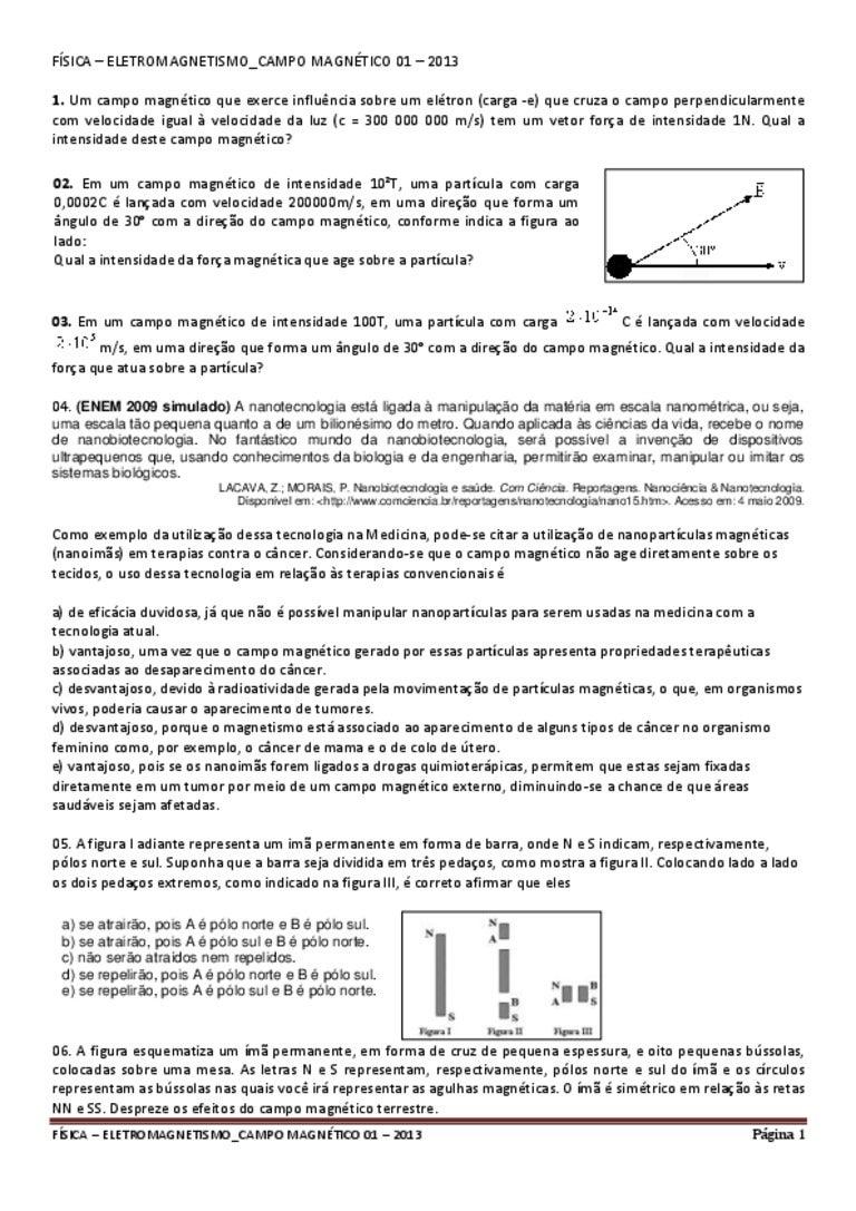b2ca402919f Física – eletromagnetismo campo magnético 01 – 2013