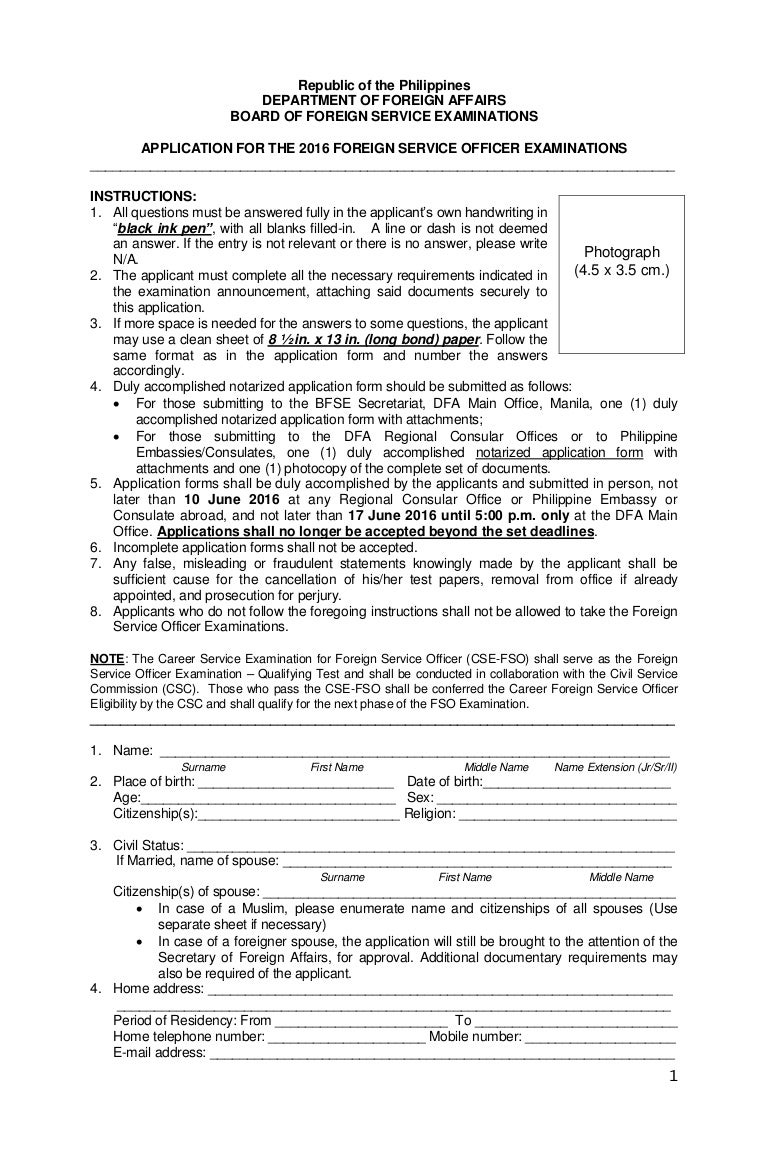 Fso application form2016 – Civil Service Exam Application Form