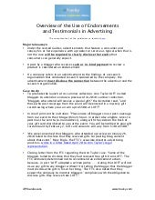 Overview of the Use of Endorsements  and Testimonials in Advertising