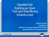 OpenMinteD Project - building a TDM infrastructure