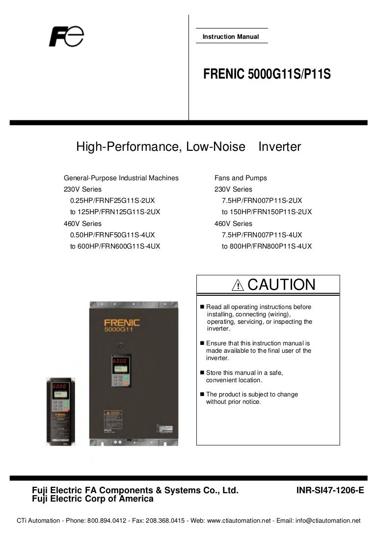 Fuji Frenic 5000 G11s P11s User Manual Warn 9 5cti Wiring Diagram