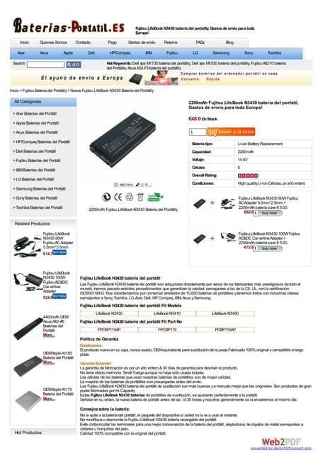 Fujitsu life book n3430 batería at www baterias-portatil-es