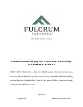 Fulcrum Partners Presenting COVID-19 Topics to CPA Firms at BDO's BRN Meeting