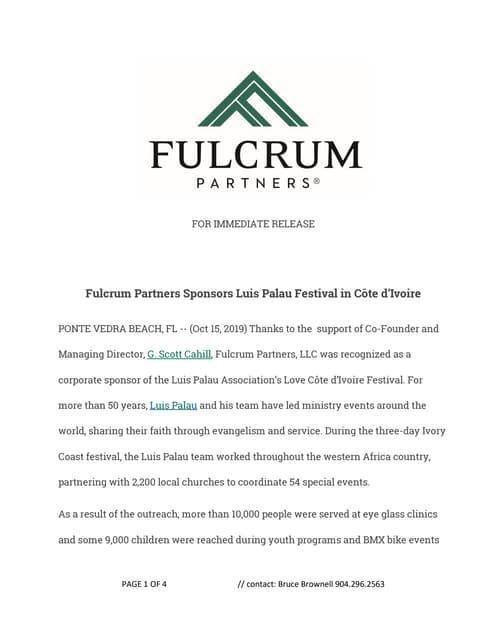 Fulcrum Partners Sponsors Luis Palau Festival in Côte d'Ivoire