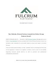 Tom Chisholm, Fulcrum Partners, Accepted into Forbes Chicago Business Council