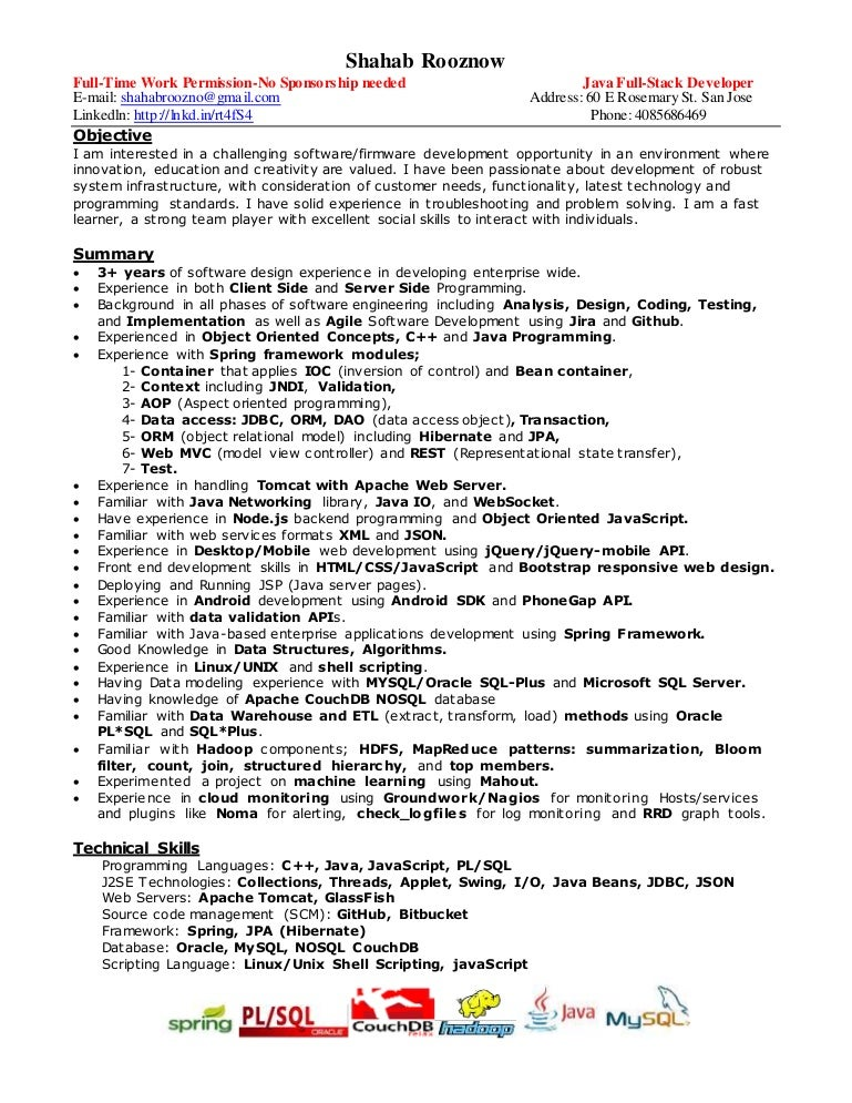 Java Developer Resume Sample For Fresher Template Word Excel Net Software  Engineer Format .  Senior Java Developer Resume