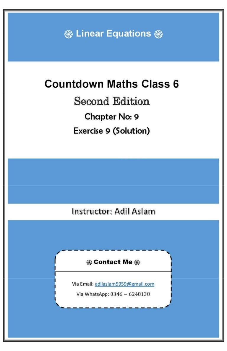 Countdown Mathematics Class 6th Second Edition Chapter 9 Solution