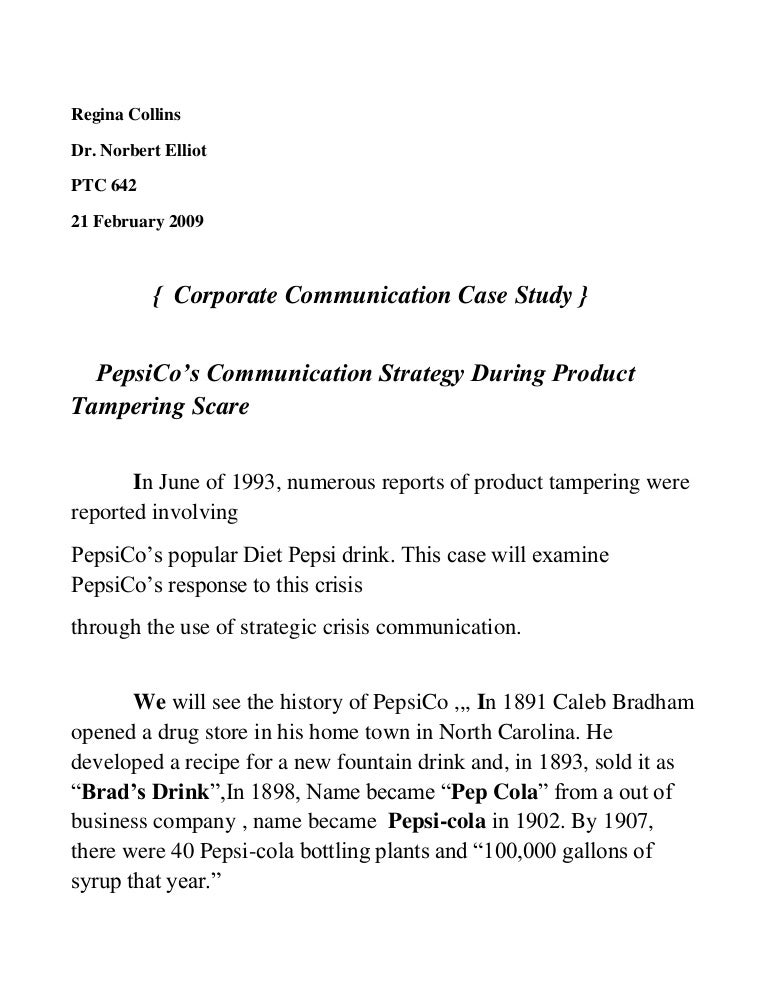 case study on coke and pepsi in india ethics issues and crisis management In some ways, coke's and pepsi's immediate responses came right out of crisis management textbooks as soon as the center for science and the environment announced that drinks made by the two.