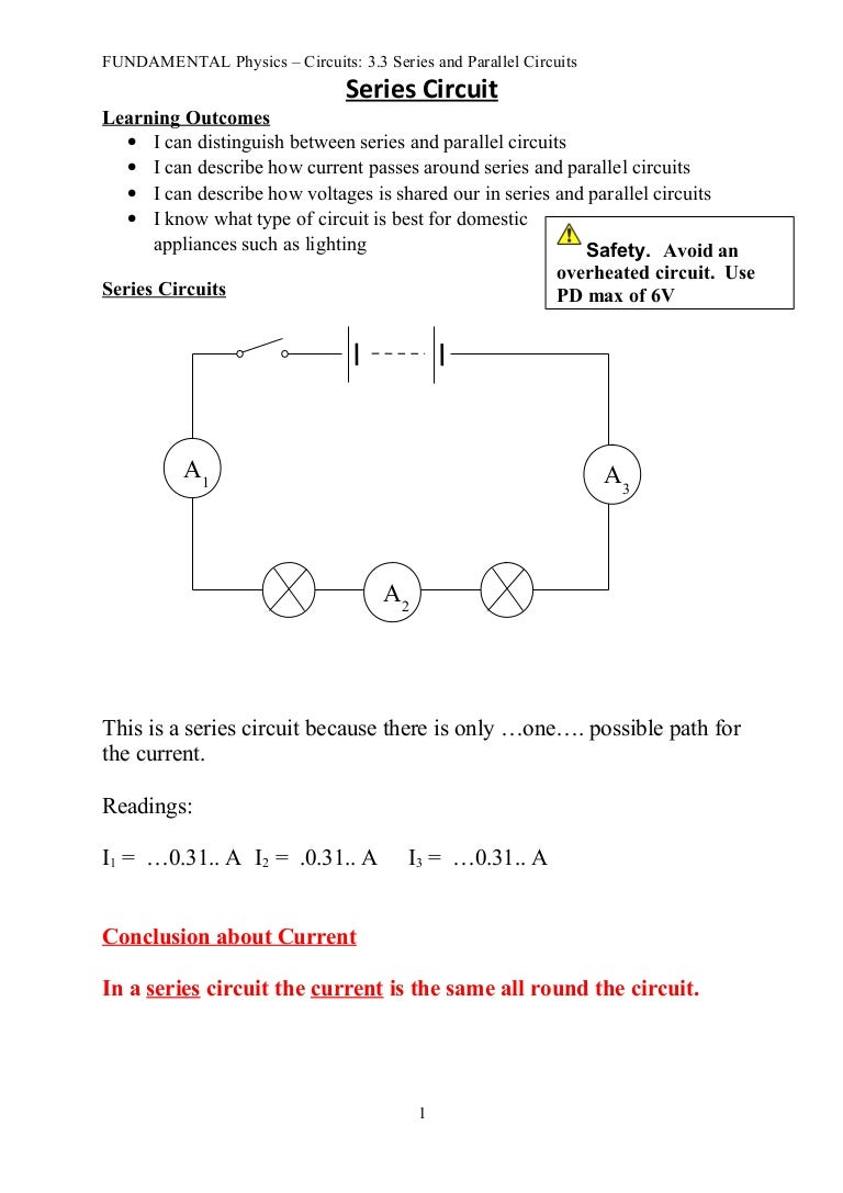 Fun 33 Series And Parallel Circuits Notes Also In A Circuit The Bulbs Are Brighter Because Current