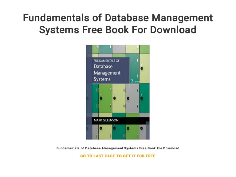 Fundamentals Of Database Management Systems Free Book For Download