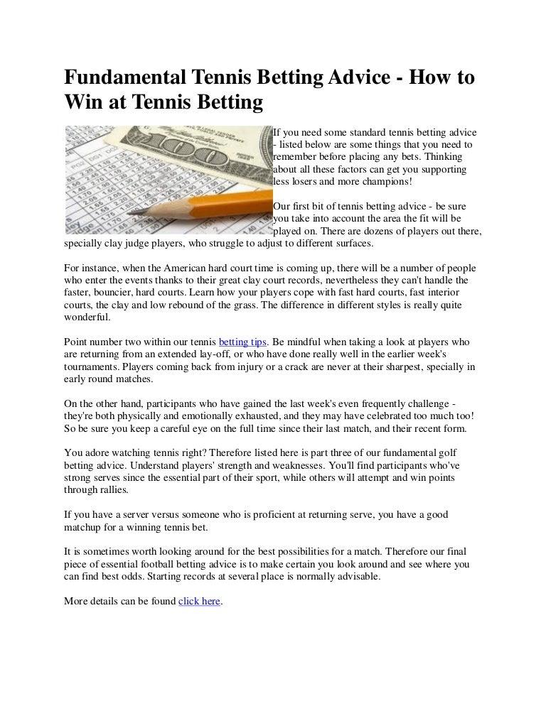 Tennis betting advice free professional football betting tips
