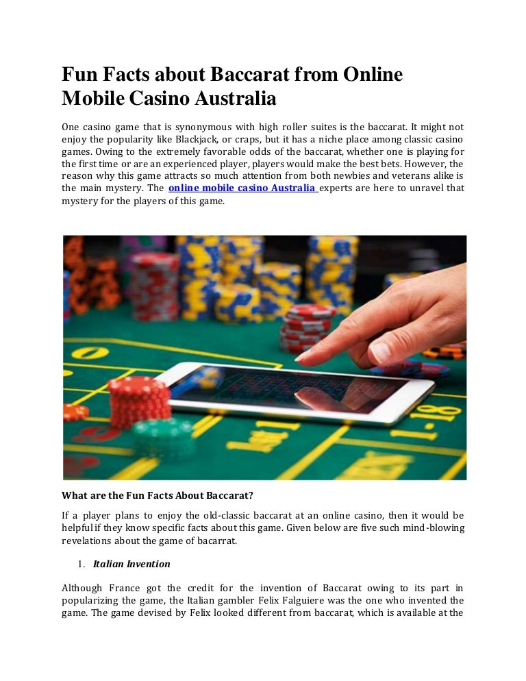 Fun Facts About Baccarat From Online Mobile Casino Australia