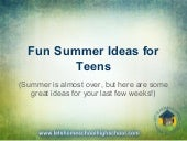 Fun Summer Ideas for Teens