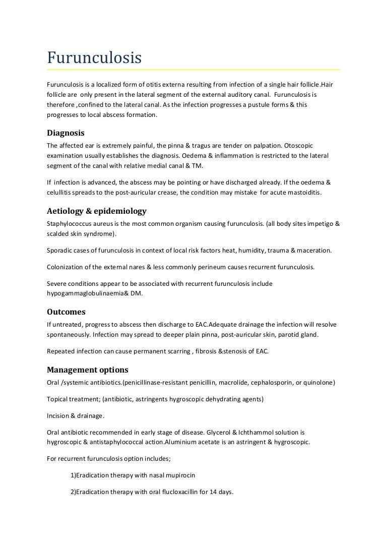 Causes of furunculosis