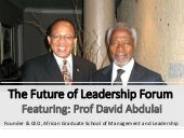 The Future of Leadership Forum: Interview with Prof David Abdullai (Founder & CEO, African Graduate School of Management and Leadership)