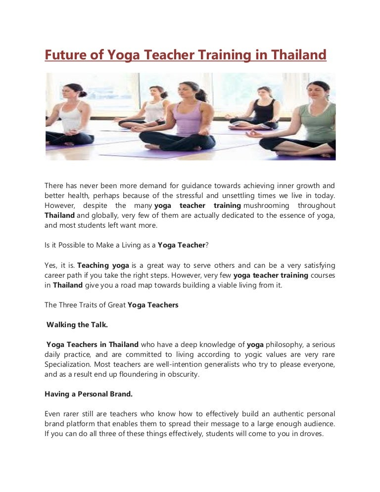 Future Of Yoga Teacher Training In Thailand
