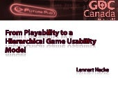 From Playability to a Hierarchical Game Usability Model