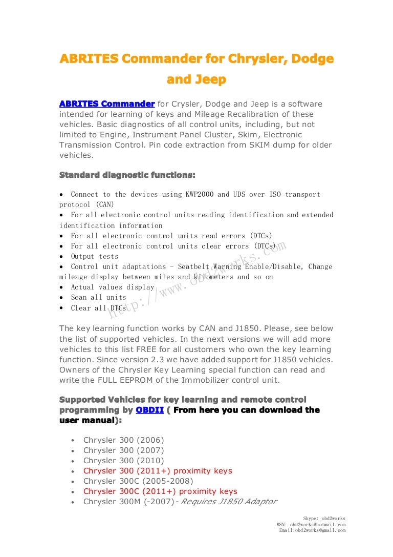Fvdi Abrites Commander For Chrysler Dodge And Jeep 2005 300 Owners Manual