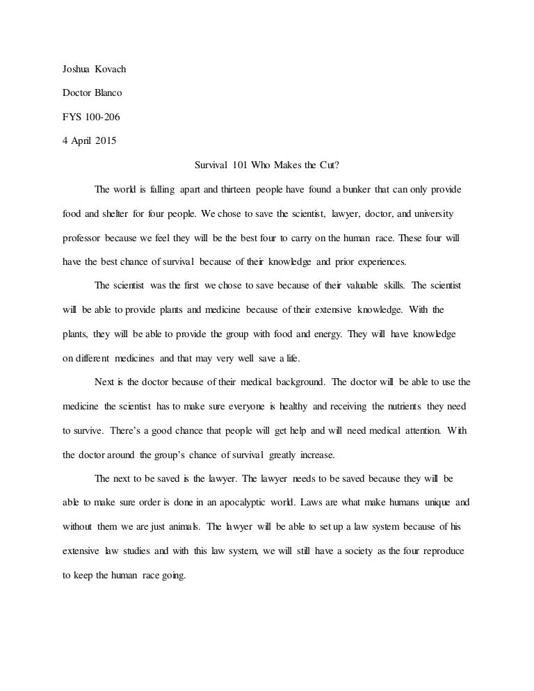 Survival essay hotel and restaurant thesis topics