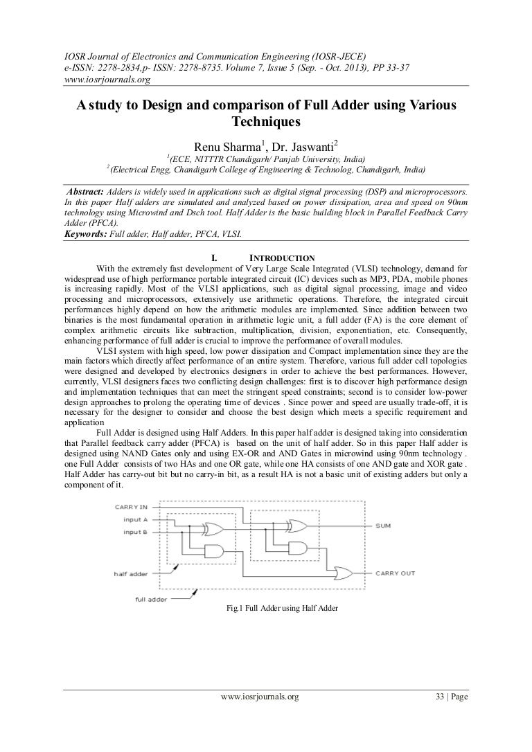 A Study To Design And Comparison Of Full Adder Using Various Techniqu Half Adders