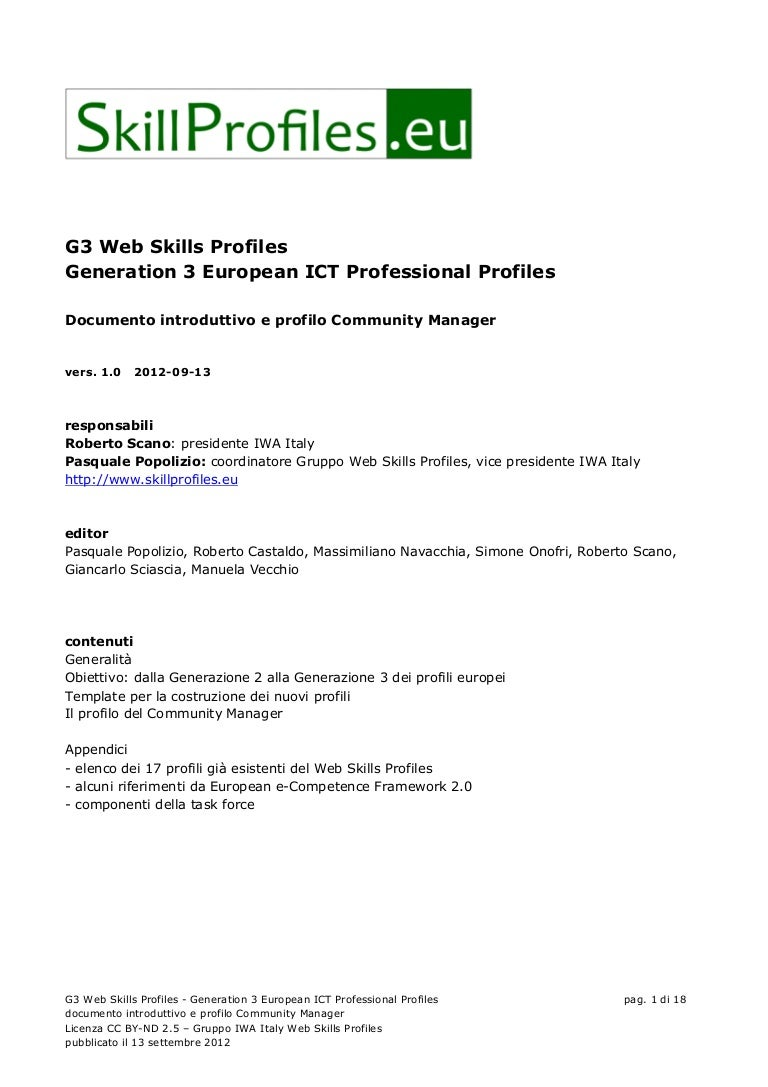 g web skills profiles generation european ict professional profiles