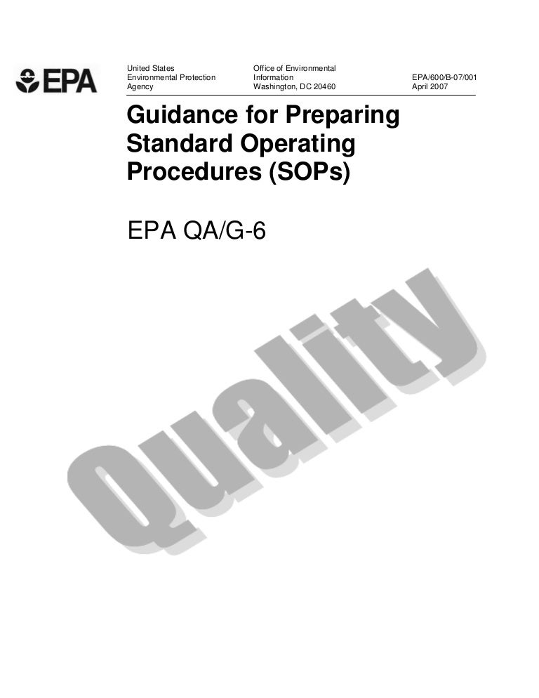 Guidance For Preparing Standard Operating Procedures Sops