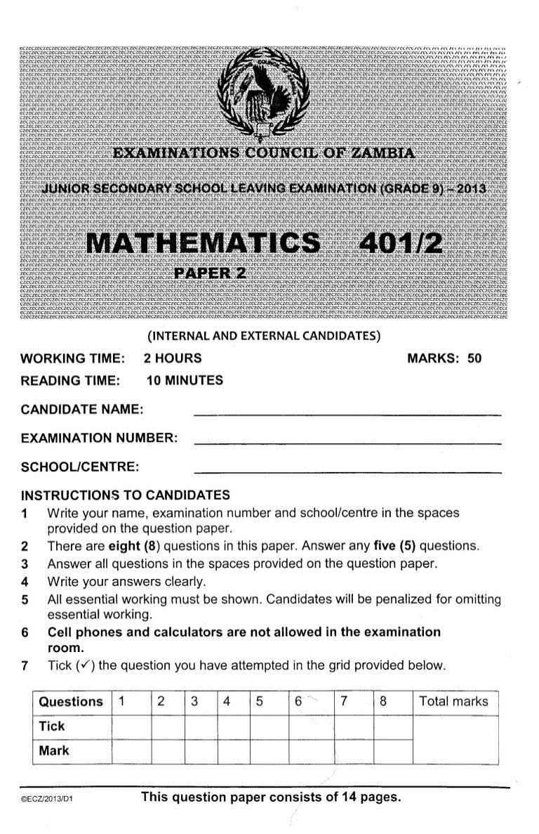 ECZ Grade 9 Paper 2 Maths 2013 Past Paper.
