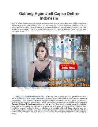 Gabung agen judi capsa online indonesia