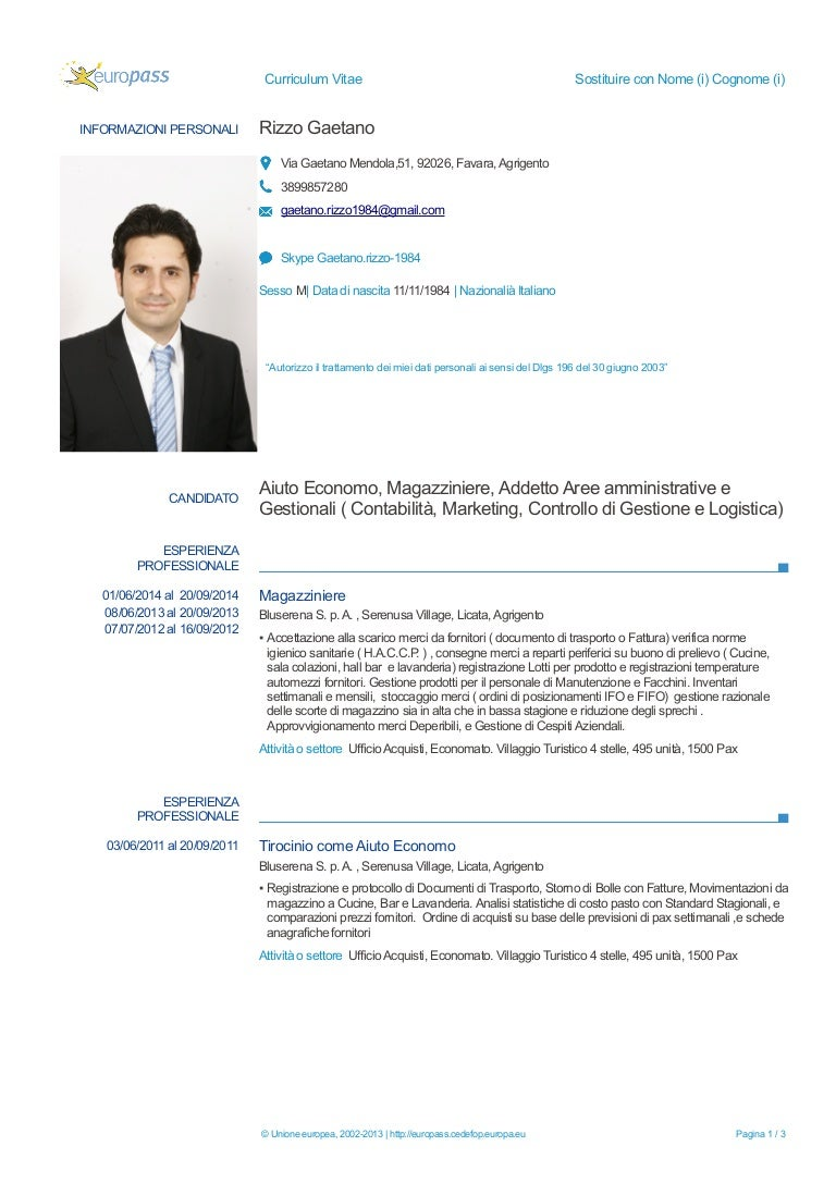 Gaetano Rizzo C V Candidato A To Economo