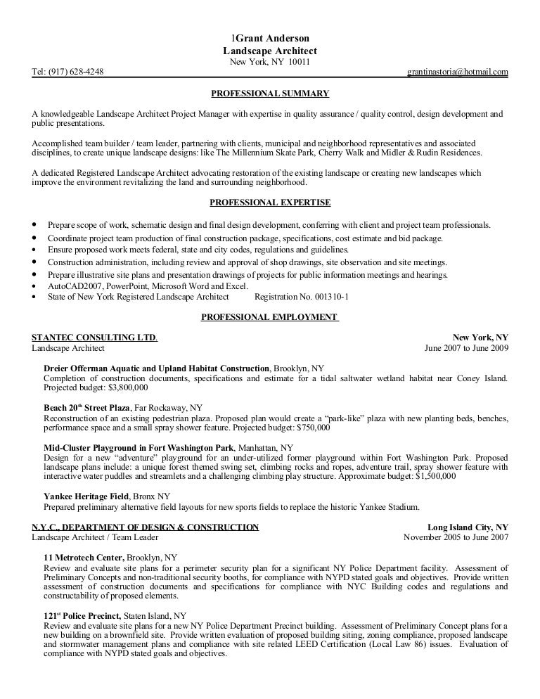 Landscaping Project Manager Resume