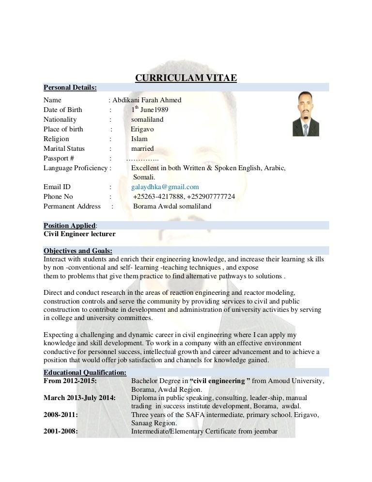 CV ENGGALAYDH FAARAX AXMED CIVIL ENGINEERING
