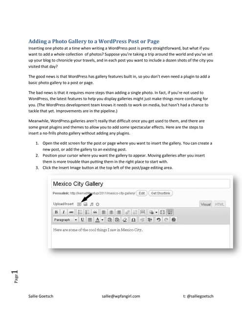 WordPress Gallery tutorial