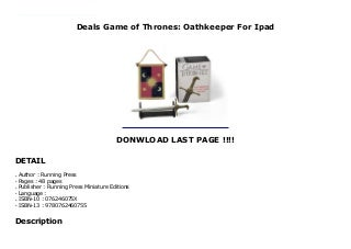 Deals Game of Thrones: Oathkeeper For Ipad