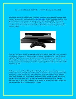 Game console repair xbox repair service