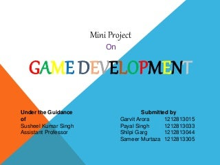 Game development presentation for project synopsis