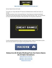 Game hacks and cheats codes and generator