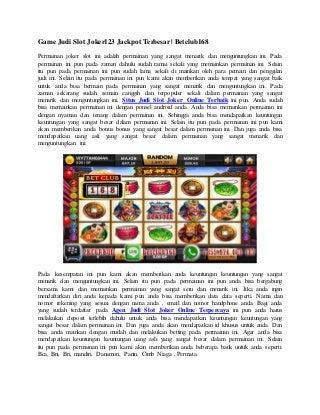 Game judi slot joker123 jackpot terbesar