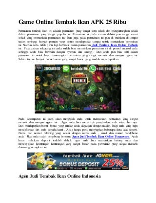 Game online tembak ikan apk 25 ribu