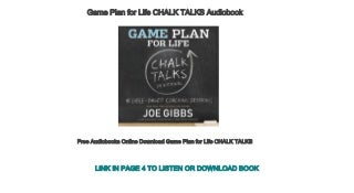 Free Audiobooks Online Download Game Plan for Life CHALK TALKS