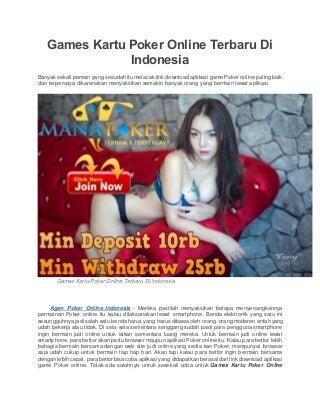 Games kartu poker online terbaru di indonesia
