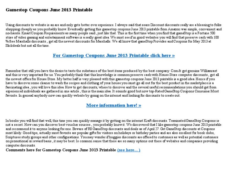 image about Gamestop Application Printable titled Gamestop coupon codes june 2013 printable